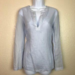 Banana Republic Sheer Blue Gauze V-neck Shirt M